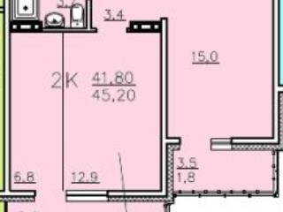 Продажа квартир: 2-комнатная квартира, Красноярский край, Сосновоборск, ул. Ленинского Комсомола, 44, фото 1