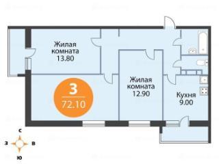 Продажа квартир: 3-комнатная квартира в новостройке, Ленинградская область, Ломоносовский р-н, д. Куттузи, Уланская ул., 3, фото 1