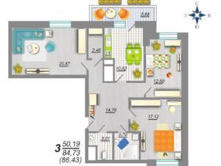 Продажа квартир: 3-комнатная квартира, Воронеж, ул. Шишкова, 140б, фото 1