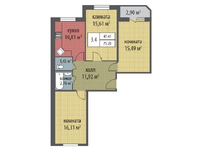 Продажа квартир: 3-комнатная квартира в новостройке, Санкт-Петербург, Петергоф, Ропшинское ш., участок №14к2.1, фото 1