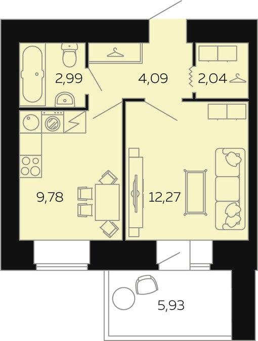Продажа квартир: 1-комнатная квартира в новостройке, Барнаул, ул. Попова, 142, фото 1